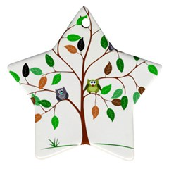 Tree Root Leaves Owls Green Brown Star Ornament (two Sides) by Simbadda