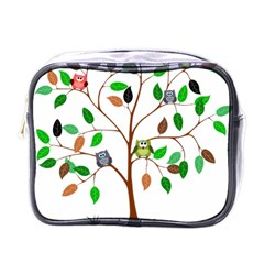 Tree Root Leaves Owls Green Brown Mini Toiletries Bags