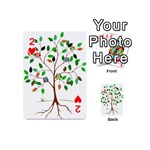 Tree Root Leaves Owls Green Brown Playing Cards 54 (Mini)  Front - Heart2
