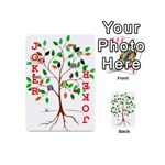 Tree Root Leaves Owls Green Brown Playing Cards 54 (Mini)  Front - Joker2