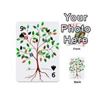 Tree Root Leaves Owls Green Brown Playing Cards 54 (Mini)  Front - Spade9