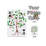 Tree Root Leaves Owls Green Brown Playing Cards 54 (Mini)  Front - Spade10