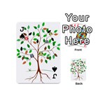 Tree Root Leaves Owls Green Brown Playing Cards 54 (Mini)  Front - SpadeJ