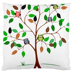 Tree Root Leaves Owls Green Brown Large Cushion Case (one Side) by Simbadda