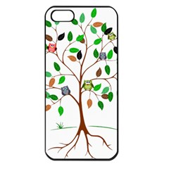 Tree Root Leaves Owls Green Brown Apple Iphone 5 Seamless Case (black) by Simbadda