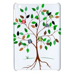 Tree Root Leaves Owls Green Brown Apple Ipad Mini Hardshell Case by Simbadda