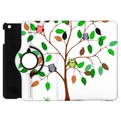 Tree Root Leaves Owls Green Brown Apple Ipad Mini Flip 360 Case by Simbadda