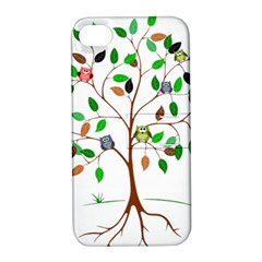 Tree Root Leaves Owls Green Brown Apple Iphone 4/4s Hardshell Case With Stand by Simbadda