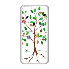 Tree Root Leaves Owls Green Brown Apple Iphone 5c Seamless Case (white) by Simbadda