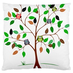 Tree Root Leaves Owls Green Brown Large Flano Cushion Case (one Side) by Simbadda