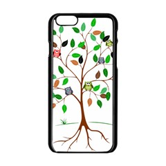 Tree Root Leaves Owls Green Brown Apple Iphone 6/6s Black Enamel Case by Simbadda