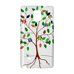 Tree Root Leaves Owls Green Brown Samsung Galaxy Note 4 Hardshell Case by Simbadda