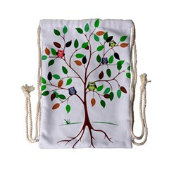 Tree Root Leaves Owls Green Brown Drawstring Bag (small) by Simbadda