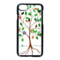 Tree Root Leaves Owls Green Brown Apple Iphone 7 Seamless Case (black) by Simbadda