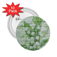 On Wood May Lily Of The Valley 2 25  Buttons (10 Pack)  by Simbadda
