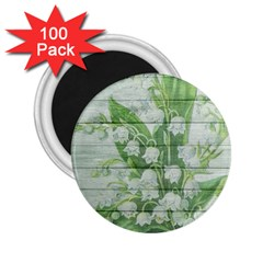 On Wood May Lily Of The Valley 2 25  Magnets (100 Pack)  by Simbadda