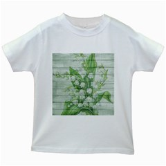 On Wood May Lily Of The Valley Kids White T Shirts