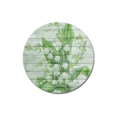 On Wood May Lily Of The Valley Magnet 3  (round) by Simbadda