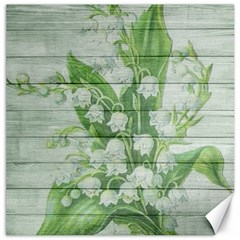 On Wood May Lily Of The Valley Canvas 16  X 16   by Simbadda