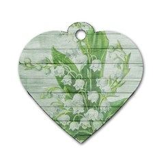 On Wood May Lily Of The Valley Dog Tag Heart (two Sides) by Simbadda