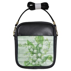 On Wood May Lily Of The Valley Girls Sling Bags by Simbadda