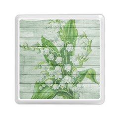 On Wood May Lily Of The Valley Memory Card Reader (square)