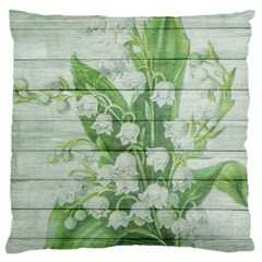 On Wood May Lily Of The Valley Large Cushion Case (one Side) by Simbadda
