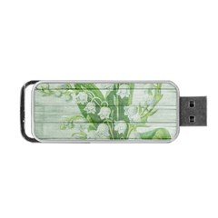 On Wood May Lily Of The Valley Portable Usb Flash (one Side) by Simbadda