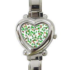 Leaves True Leaves Autumn Green Heart Italian Charm Watch by Simbadda