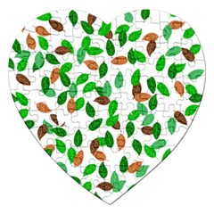 Leaves True Leaves Autumn Green Jigsaw Puzzle (heart) by Simbadda