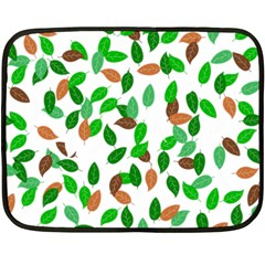 Leaves True Leaves Autumn Green Fleece Blanket (mini) by Simbadda