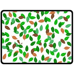 Leaves True Leaves Autumn Green Fleece Blanket (large)  by Simbadda