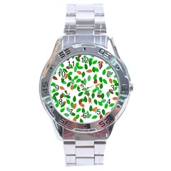 Leaves True Leaves Autumn Green Stainless Steel Analogue Watch by Simbadda