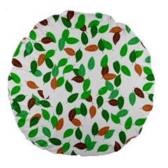 Leaves True Leaves Autumn Green Large 18  Premium Round Cushions by Simbadda