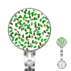 Leaves True Leaves Autumn Green Stainless Steel Nurses Watch by Simbadda