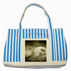 Astronaut Space Travel Space Striped Blue Tote Bag by Simbadda