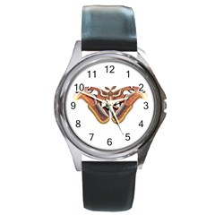 Butterfly Animal Insect Isolated Round Metal Watch by Simbadda