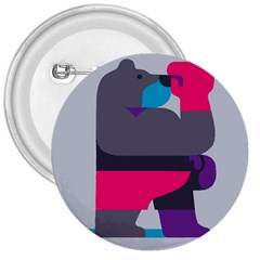 Strong Bear Animals Boxing Red Purple Grey 3  Buttons by Alisyart