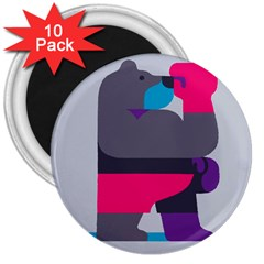 Strong Bear Animals Boxing Red Purple Grey 3  Magnets (10 Pack)  by Alisyart