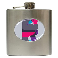 Strong Bear Animals Boxing Red Purple Grey Hip Flask (6 Oz) by Alisyart