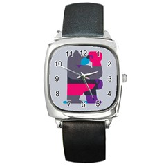 Strong Bear Animals Boxing Red Purple Grey Square Metal Watch by Alisyart