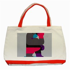 Strong Bear Animals Boxing Red Purple Grey Classic Tote Bag (red)