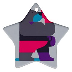 Strong Bear Animals Boxing Red Purple Grey Star Ornament (two Sides) by Alisyart