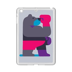Strong Bear Animals Boxing Red Purple Grey Ipad Mini 2 Enamel Coated Cases