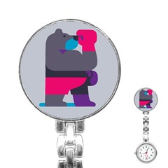 Strong Bear Animals Boxing Red Purple Grey Stainless Steel Nurses Watch