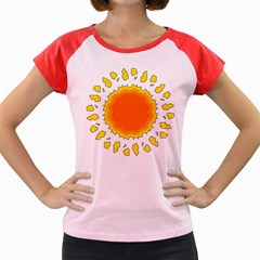 Sun Hot Orange Yrllow Light Women s Cap Sleeve T Shirt