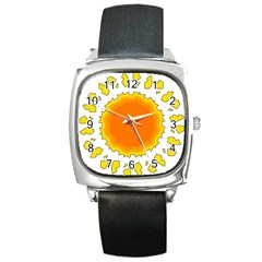 Sun Hot Orange Yrllow Light Square Metal Watch by Alisyart