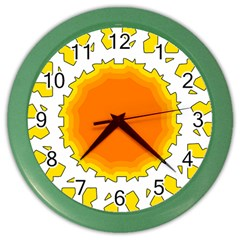 Sun Hot Orange Yrllow Light Color Wall Clocks by Alisyart