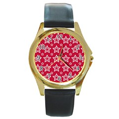 Star Red White Line Space Round Gold Metal Watch