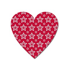 Star Red White Line Space Heart Magnet by Alisyart